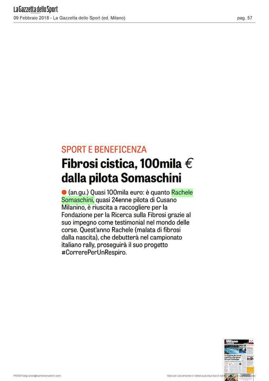 LA GAZZETTA DELLO SPORT • Fibrosi cistica, 100mila € dalla pilota Somaschini