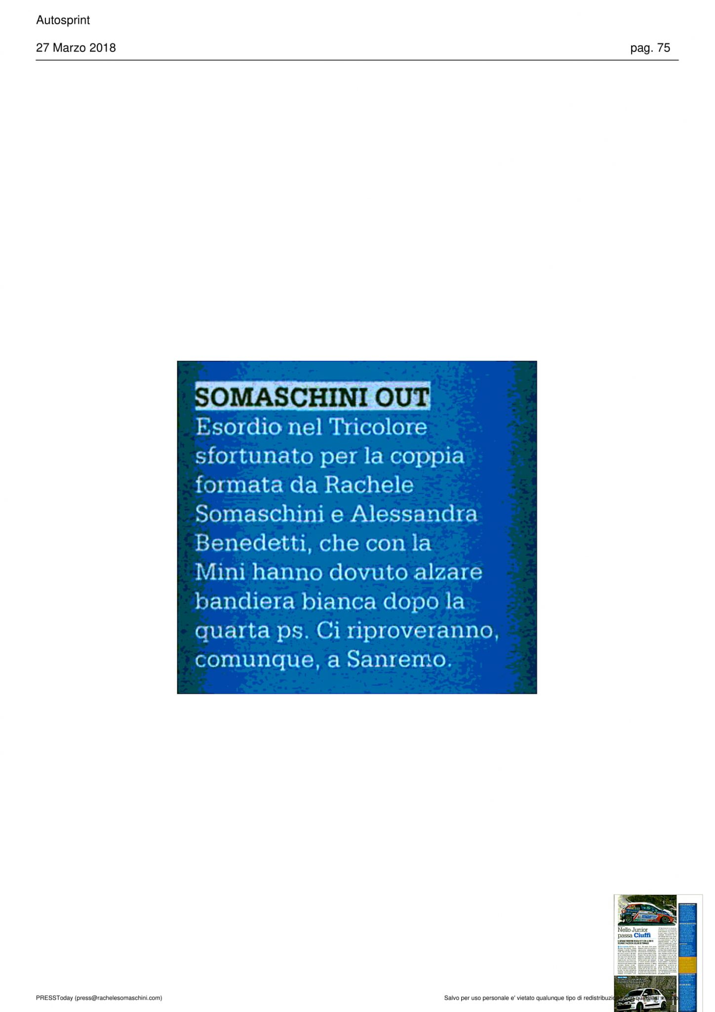 Autosprint • Somaschini out