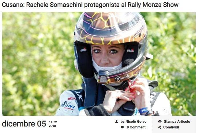Cusano Rachele Somaschini protagonista al Rally Monza Show