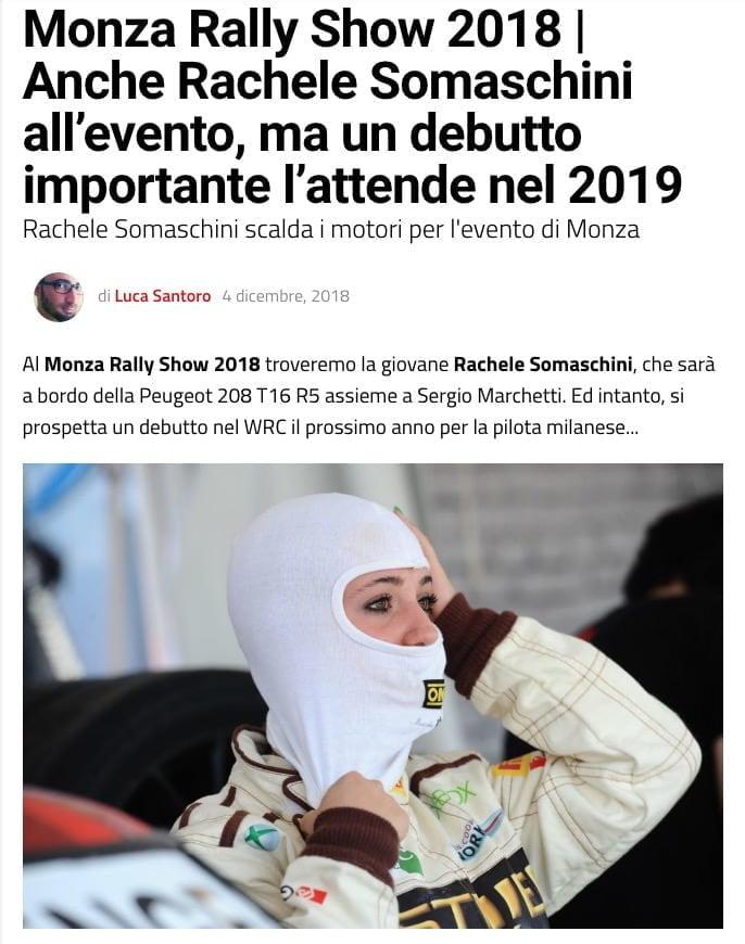 Monza Rally Show 2018 | Anche Rachele Somaschini all'evento, ma un debutto importante l'attende nel 2019