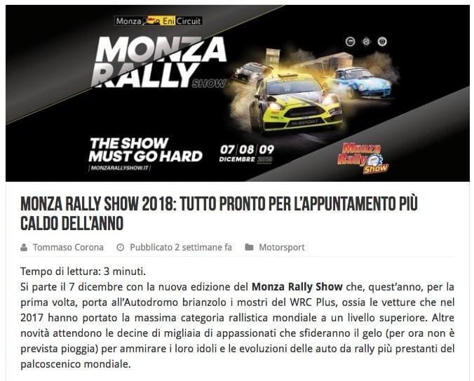 Monza Rally Show 2018 tutto pronto per l'appuntamento più caldo dell'anno