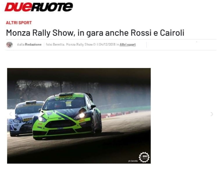 Monza Rally Show, in gara anche Rossi e Cairoli