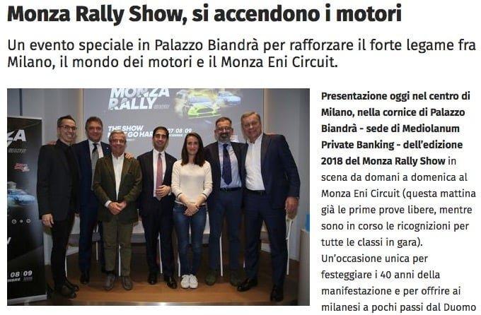 Monza Rally Show, si accendono i motori