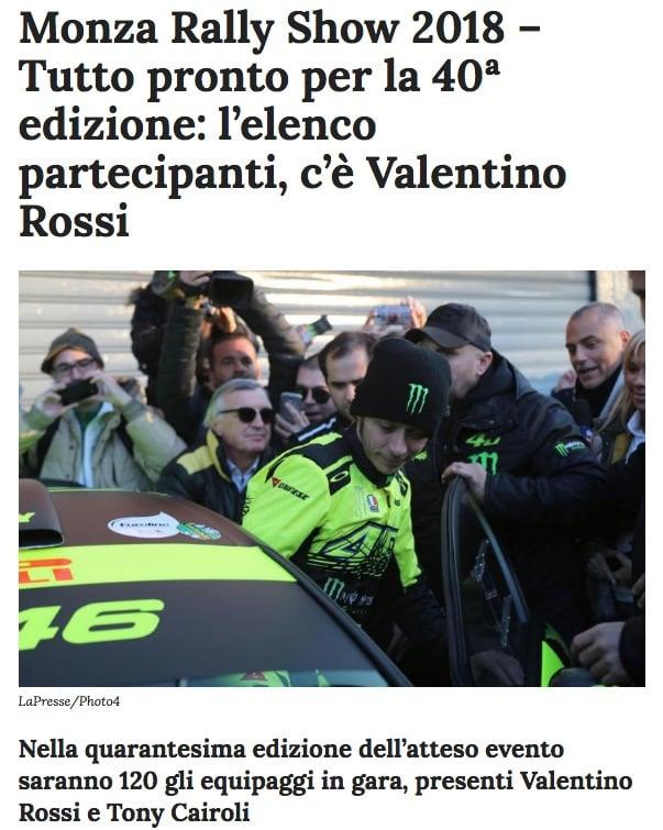 Tutto pronto per la 40ª edizione l'elenco partecipanti, c'è Valentino Rossi